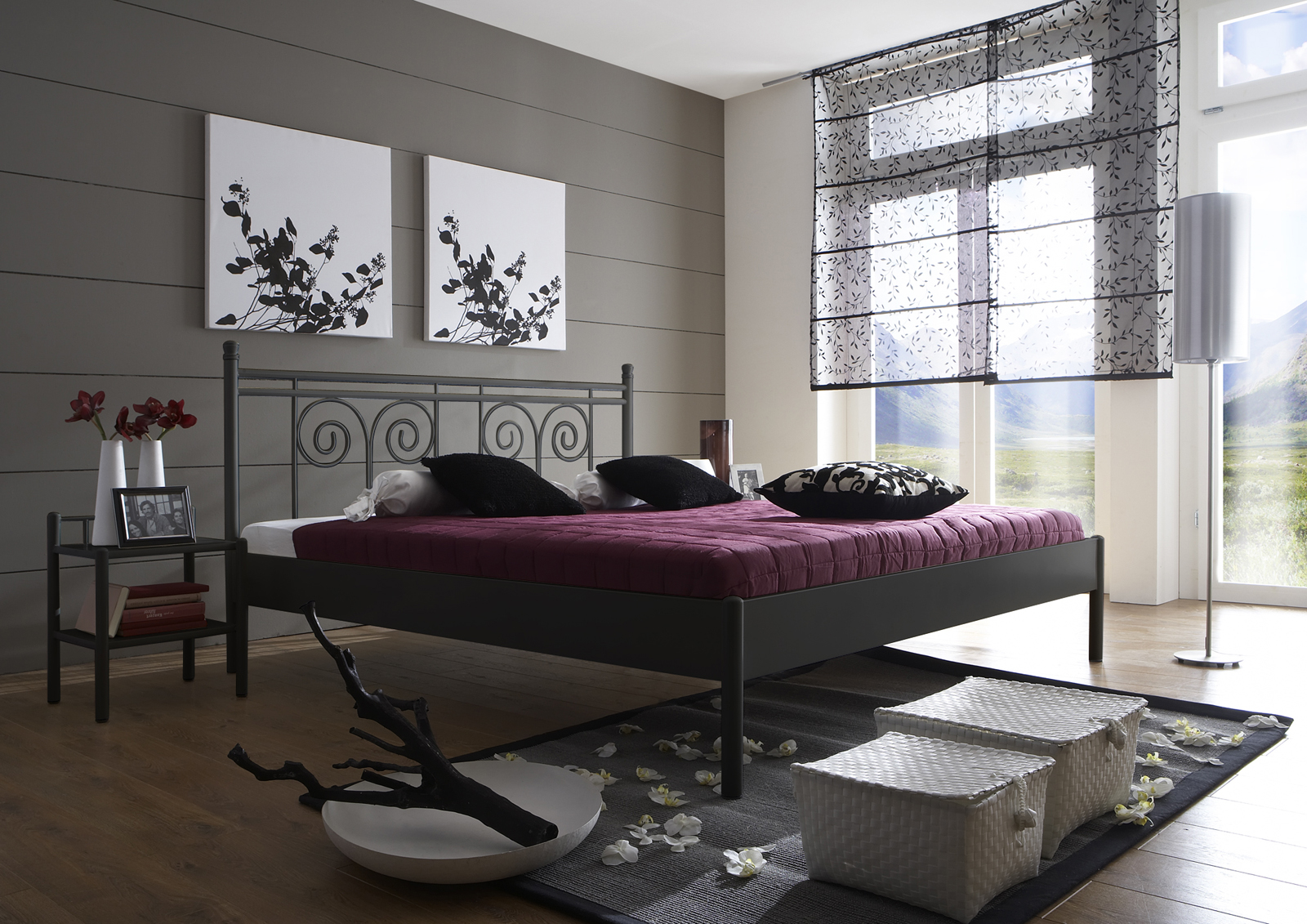 sam metallbett schwarz 180 x 200 cm kos auf lager. Black Bedroom Furniture Sets. Home Design Ideas