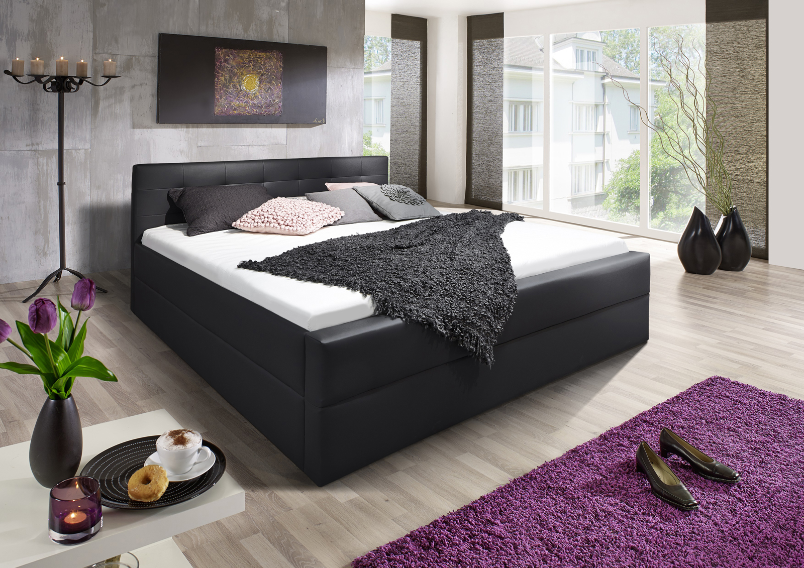 sam design boxspringbett 180 x 200 cm schwarz kappa auf lager. Black Bedroom Furniture Sets. Home Design Ideas