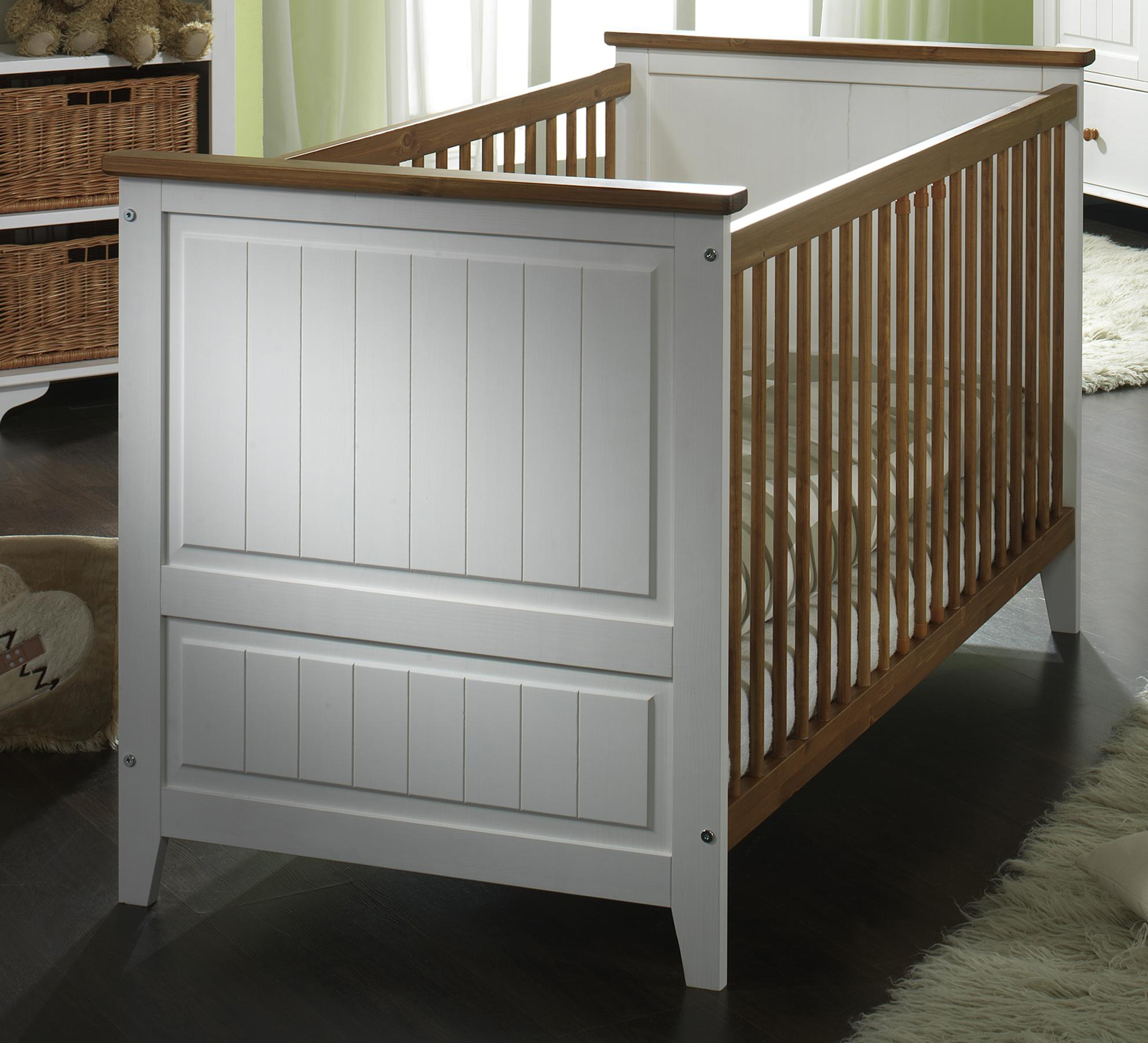 sam babybett in wei kiefer massiv 70 x 140 cm julia. Black Bedroom Furniture Sets. Home Design Ideas