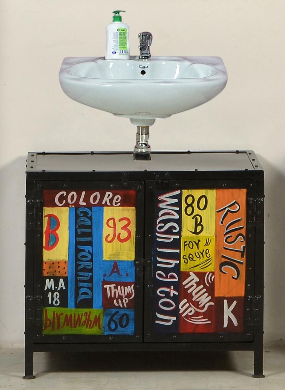 SAM® Bad Set 5tlg bunt Metall bemalt Vintage Colore