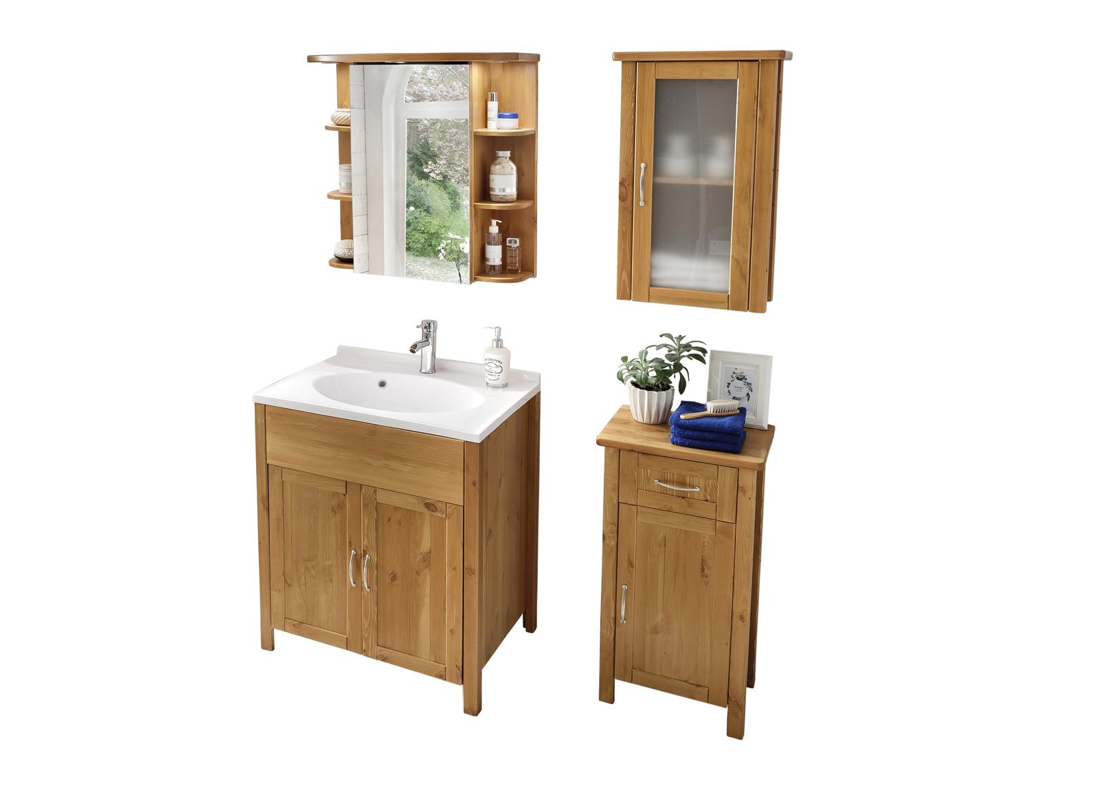 sam bad set honig massiv kiefer gewachst 4tlg venedig hoch. Black Bedroom Furniture Sets. Home Design Ideas