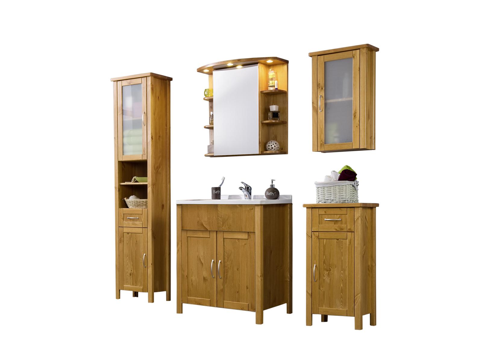 sam bad set honig massiv kiefer gewachst 5tlg venedig hoch. Black Bedroom Furniture Sets. Home Design Ideas