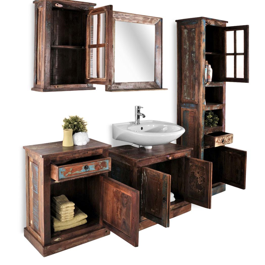 sam bad vintage look bunt holz 5tlg farbig riverboat. Black Bedroom Furniture Sets. Home Design Ideas
