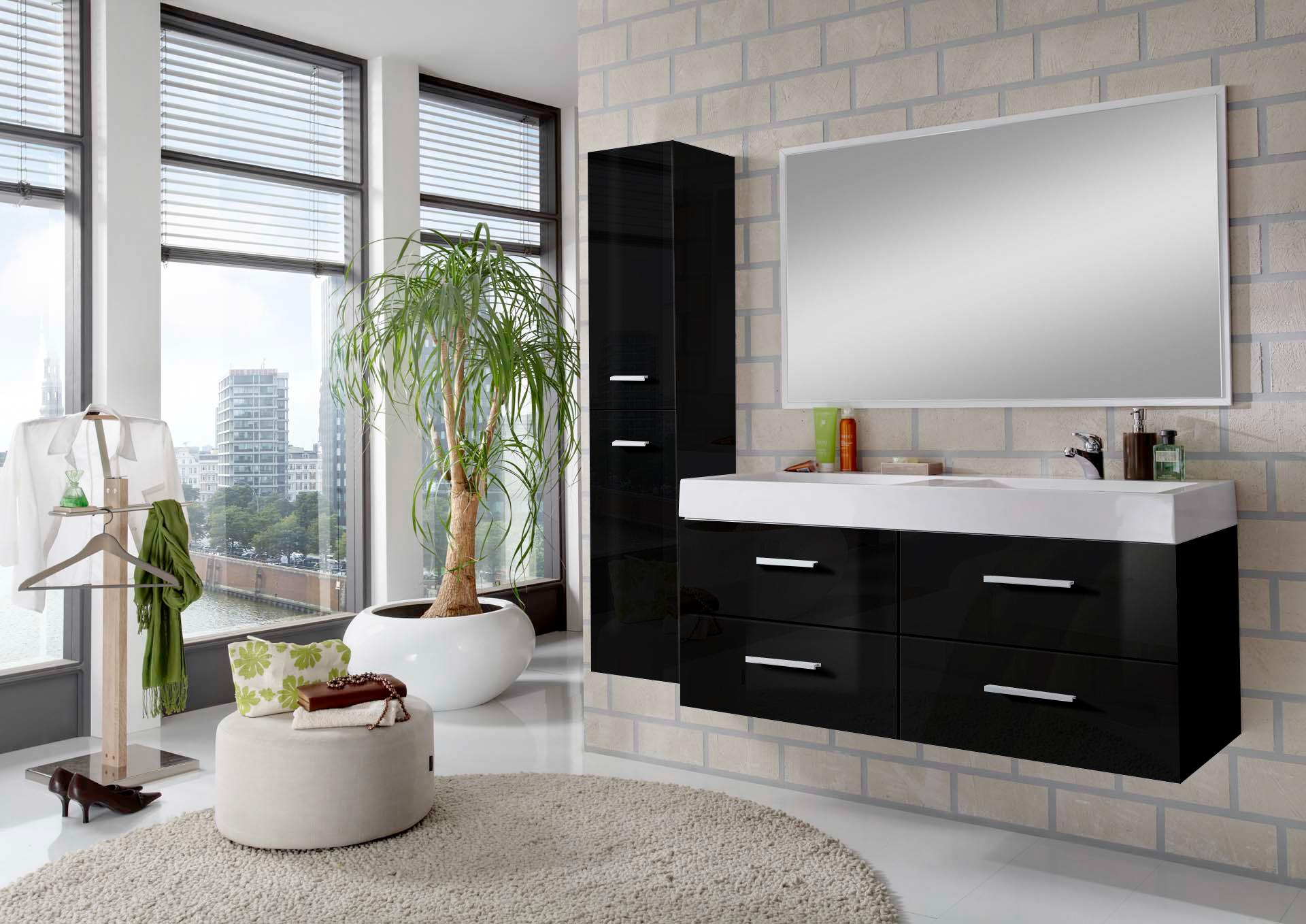 sam badem bel hamburg 3tlg 120 cm hochglanz schwarz 120 cm. Black Bedroom Furniture Sets. Home Design Ideas
