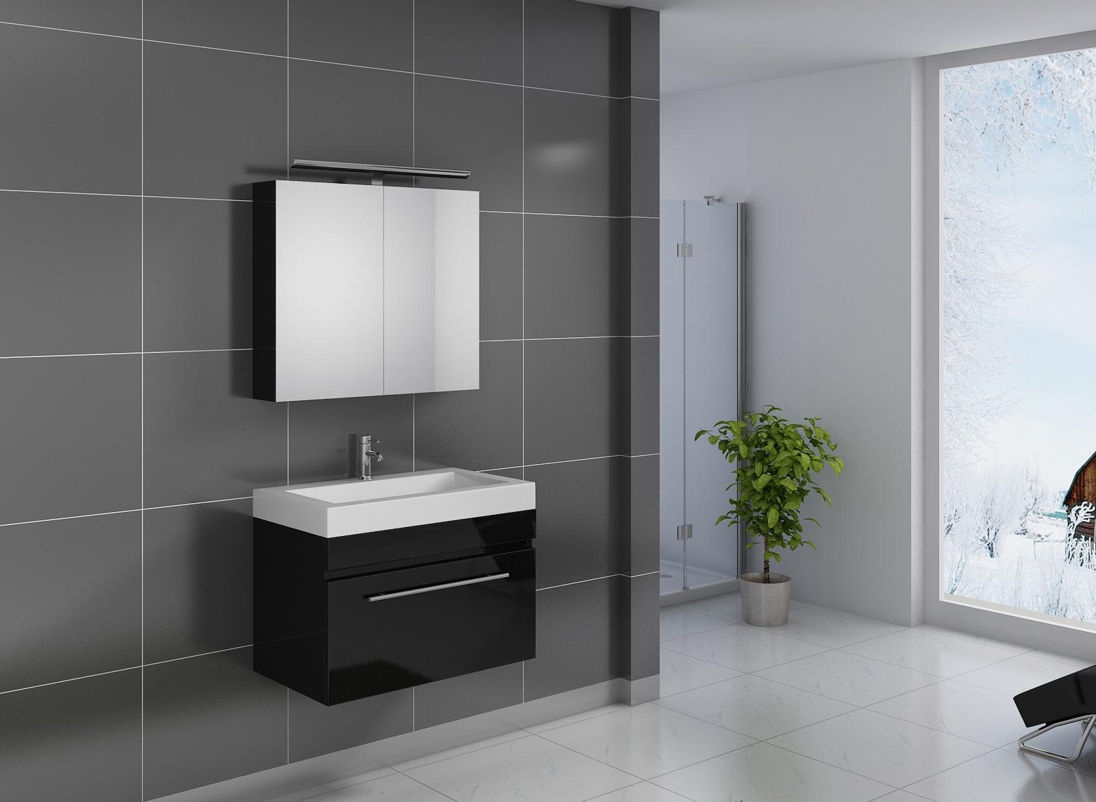 sam badezimmer set lunik 2tlg spiegelschrank schwarz 80 cm. Black Bedroom Furniture Sets. Home Design Ideas