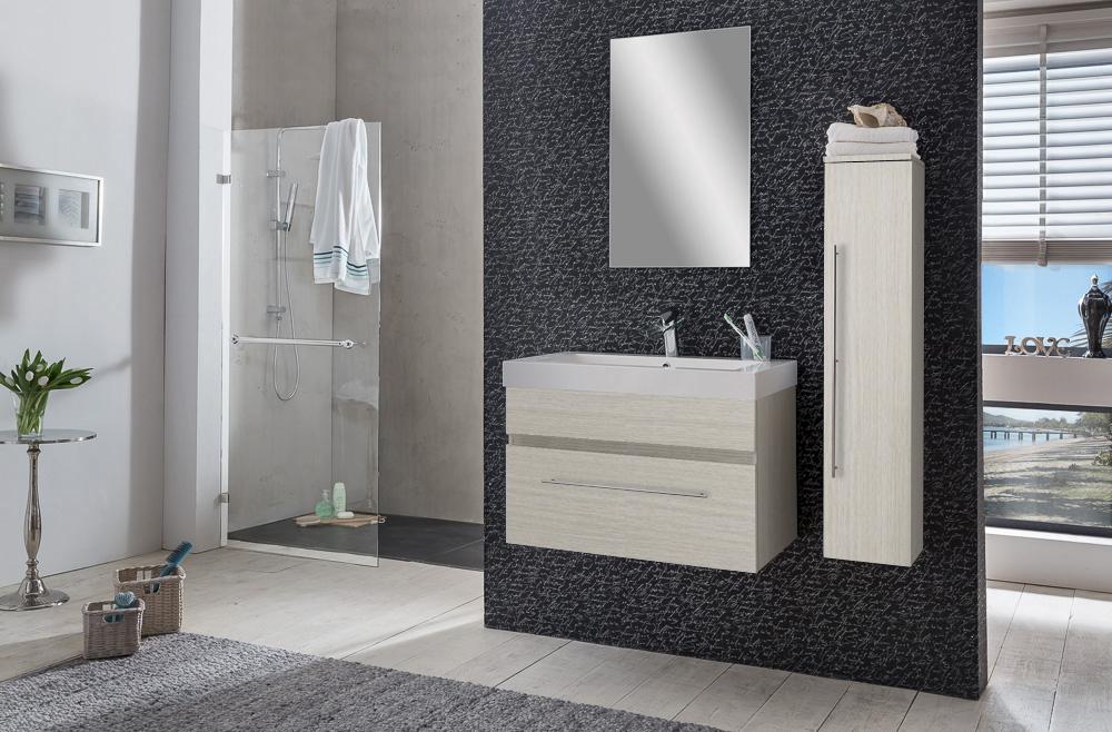 sam badezimmer set lunik 3tlg spiegel sonomaeiche 80 cm. Black Bedroom Furniture Sets. Home Design Ideas
