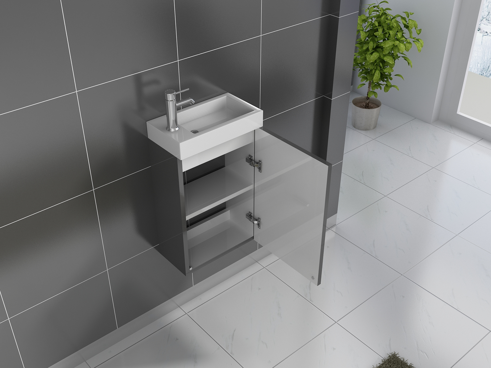 Sam badezimmer waschplatz grau hochglanz vega demn chst for Badezimmer grau