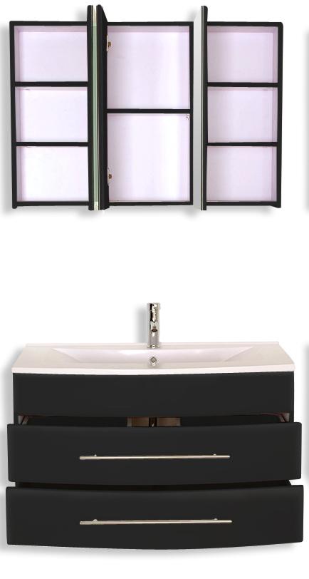 sam badezimmer z rich 4tlg schwarz 100 cm g nstig. Black Bedroom Furniture Sets. Home Design Ideas