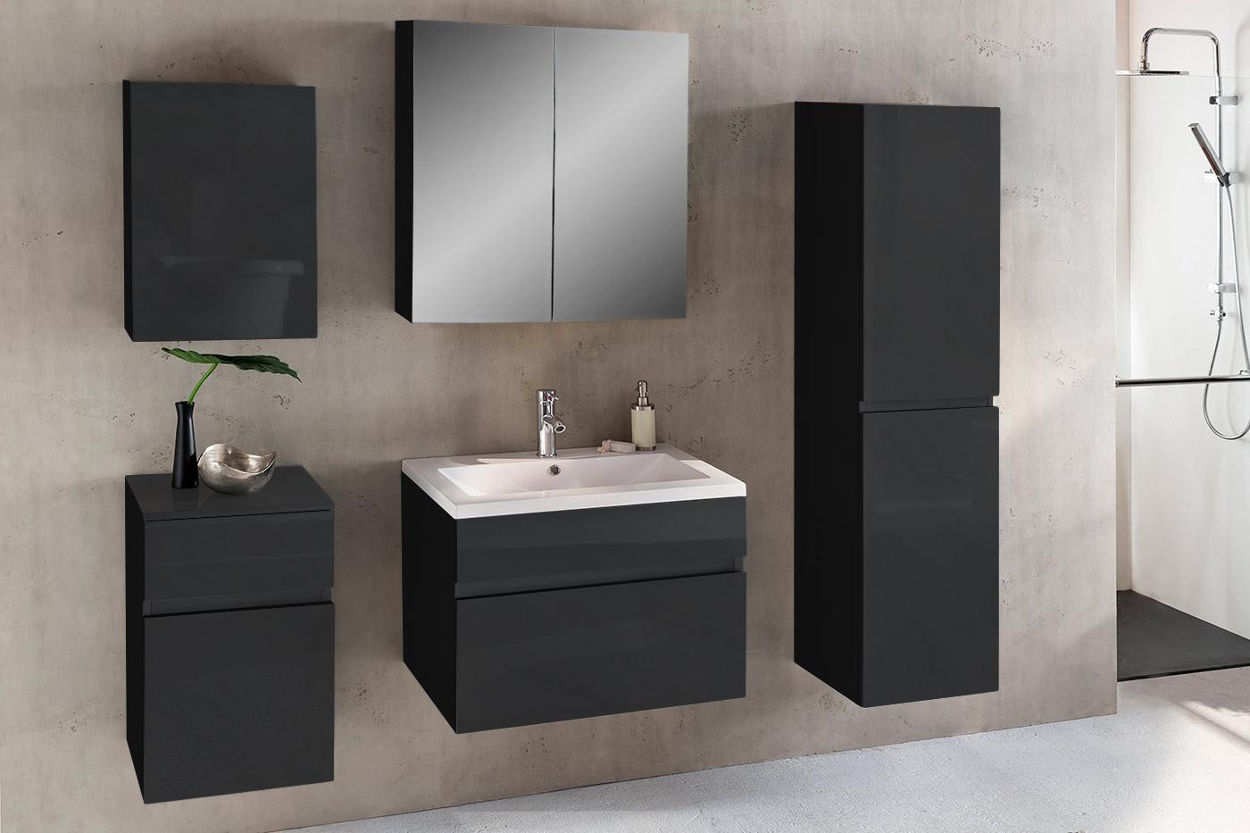 Sam® badezimmermöbel parma 5tlg schwarz hochglanz 80 cm demnächst !