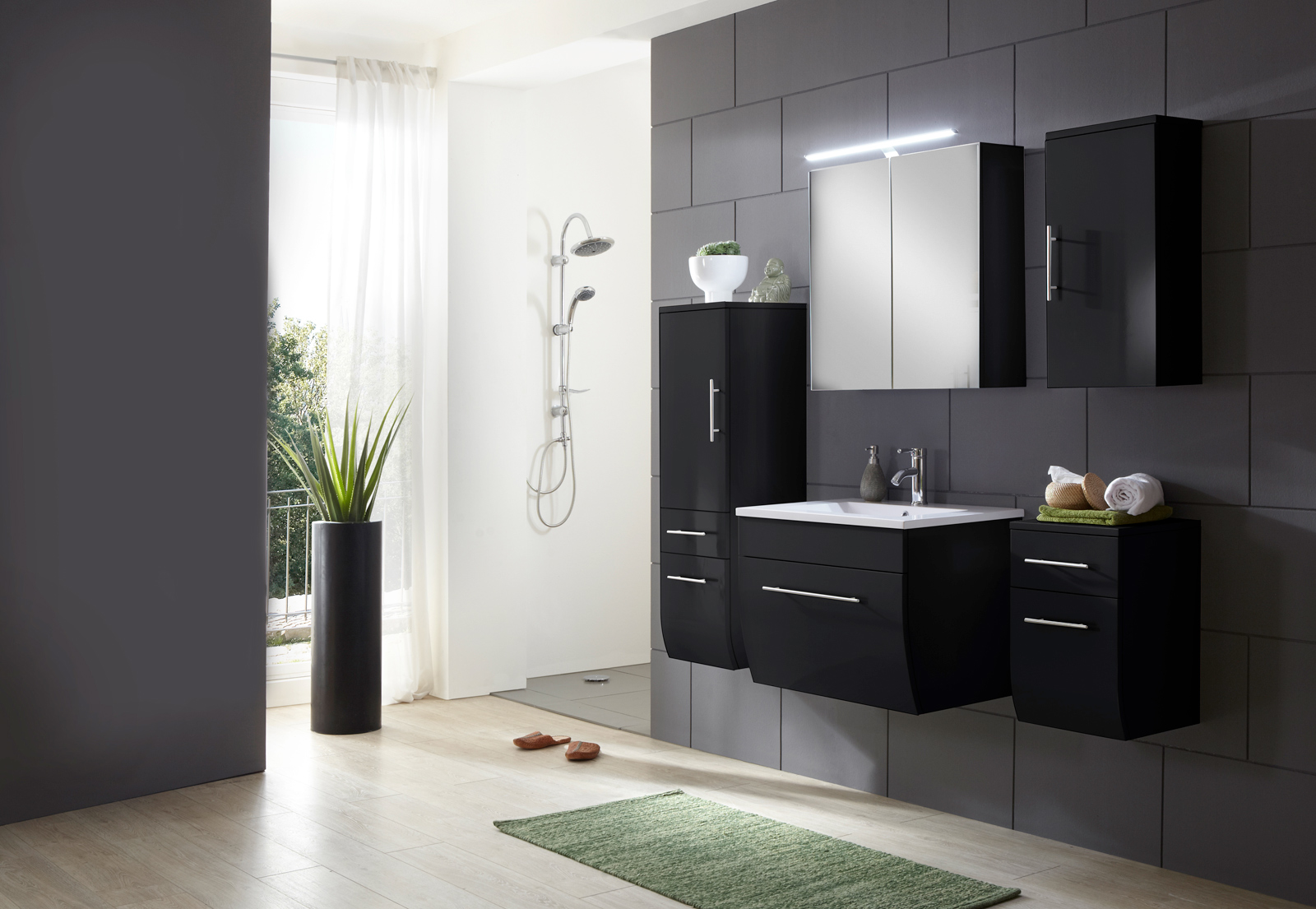sam badezimmerm bel zagona 5tlg schwarz hochglanz 70 cm. Black Bedroom Furniture Sets. Home Design Ideas