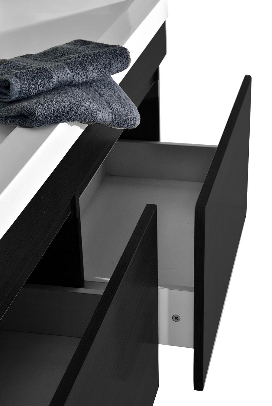Sam® badmöbel 4tlg set schwarz hochglanz 140 cm parma deluxe