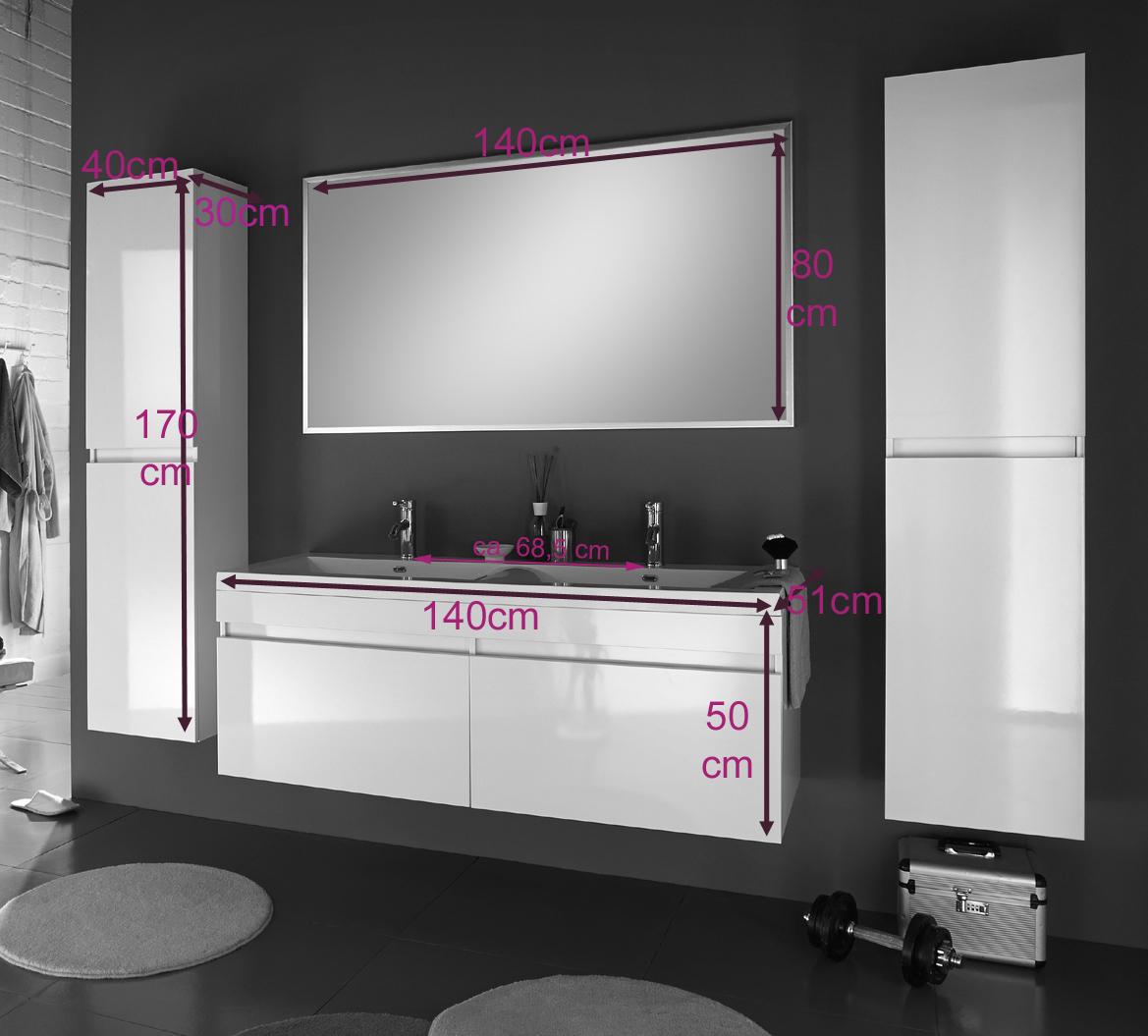 sam badm bel 4tlg set wei hochglanz 140 cm parma deluxe. Black Bedroom Furniture Sets. Home Design Ideas