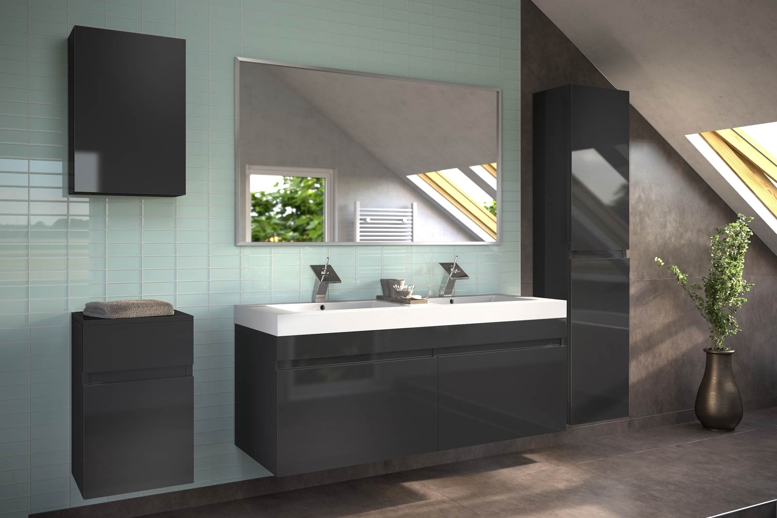 sam badm bel 5tlg set softclose hochglanz schwarz parma. Black Bedroom Furniture Sets. Home Design Ideas