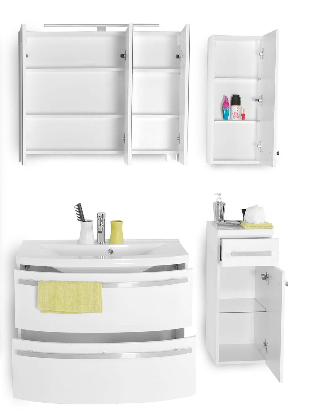 sam badm bel hochglanz wei 4tlg dynamic g nstig. Black Bedroom Furniture Sets. Home Design Ideas