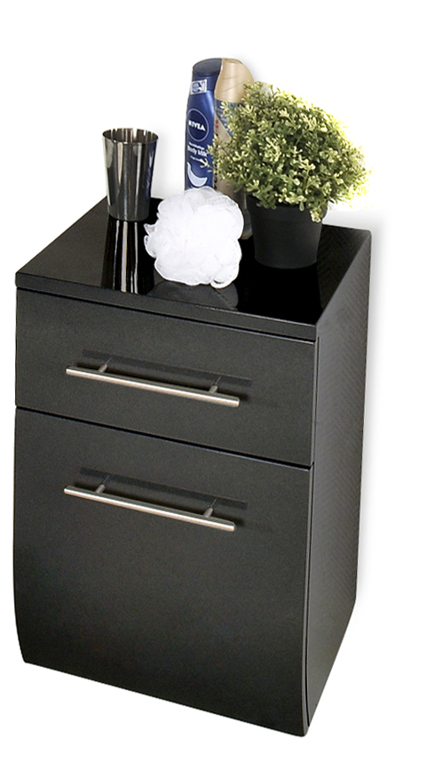 sam badm bel set 4tlg schwarz hochglanz 70cm niagara. Black Bedroom Furniture Sets. Home Design Ideas