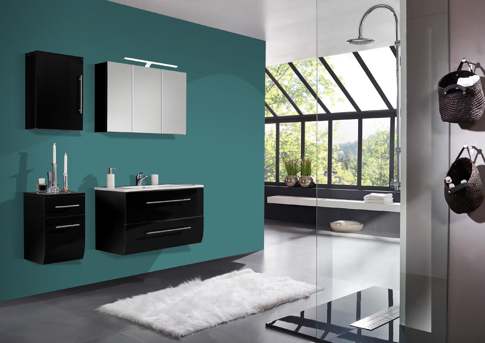 sam badm bel set 4tlg schwarz hochglanz 90cm niagara. Black Bedroom Furniture Sets. Home Design Ideas
