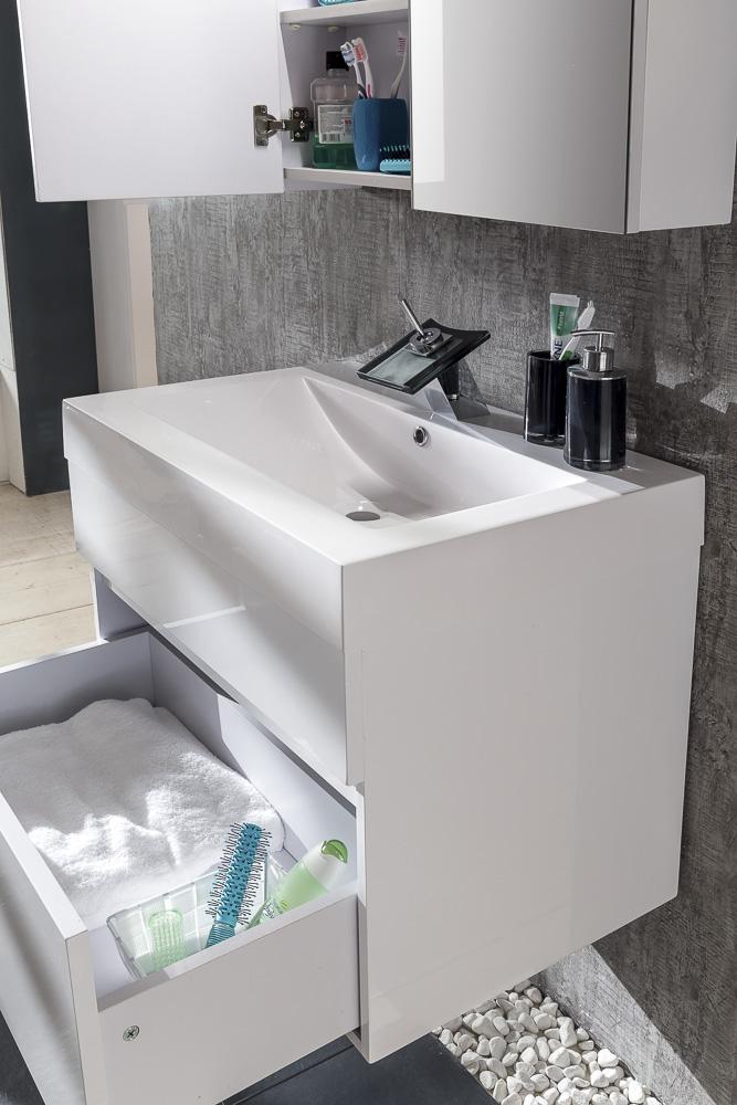 sam badm bel set parma 2tlg wei hochglanz 70 cm. Black Bedroom Furniture Sets. Home Design Ideas