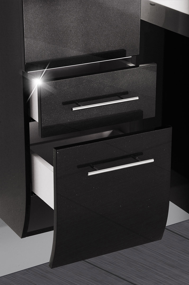 Sam® badmöbel zÜrich 5tlg schwarz hochglanz 90 cm beckenauswahl