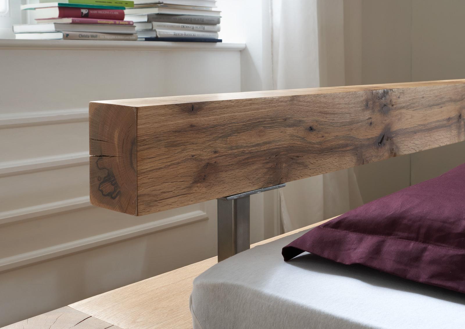 sam balkenbett alma eiche 200x220 cm balken farbauswahl. Black Bedroom Furniture Sets. Home Design Ideas