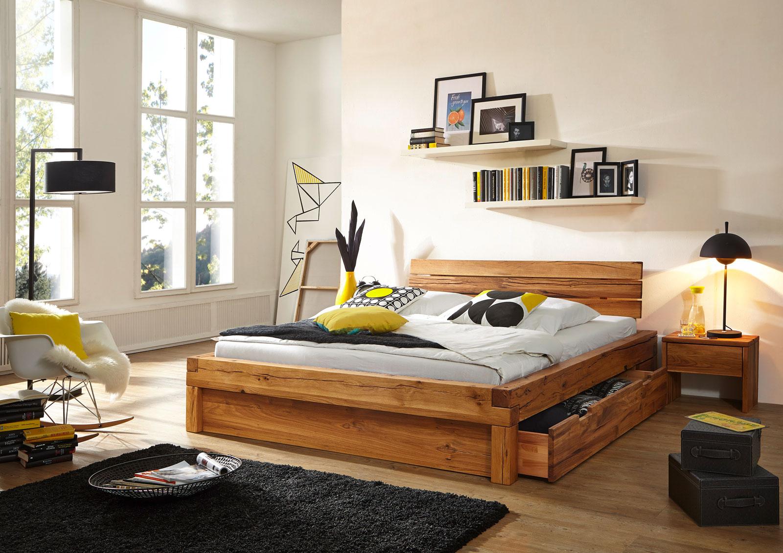 sam balkenbett kernbuche benno massiv mit bettkasten 200 x 200 cm. Black Bedroom Furniture Sets. Home Design Ideas