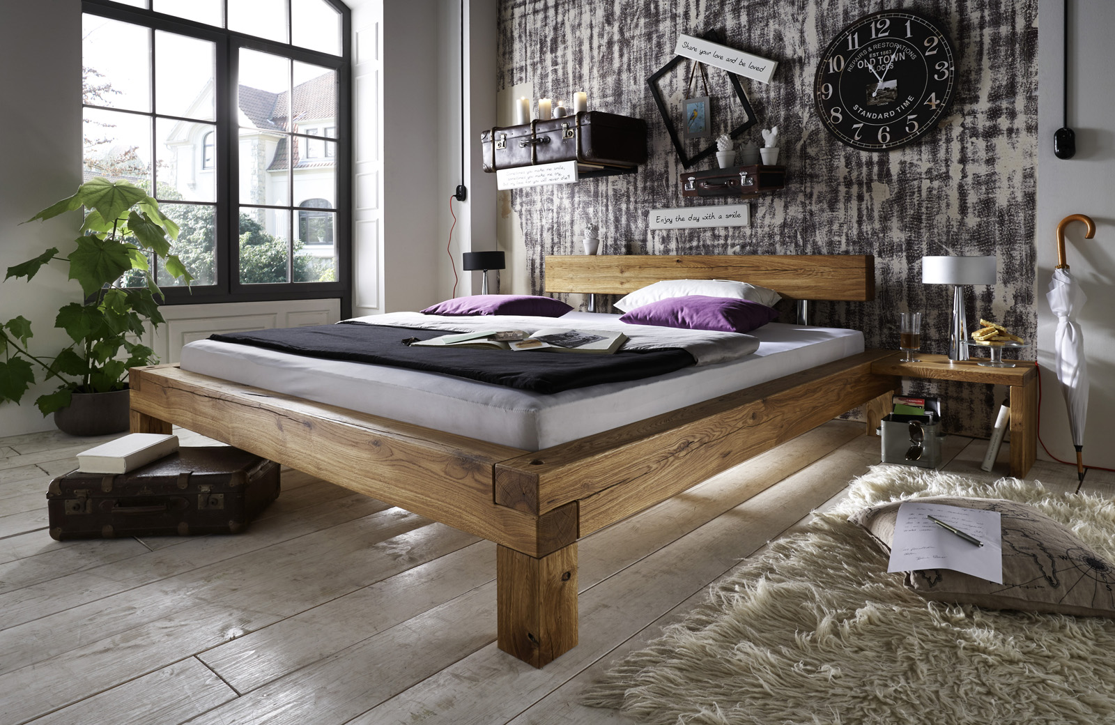 sam balkenbett ludo massiv holzbett wildeiche 160 x 200 cm. Black Bedroom Furniture Sets. Home Design Ideas