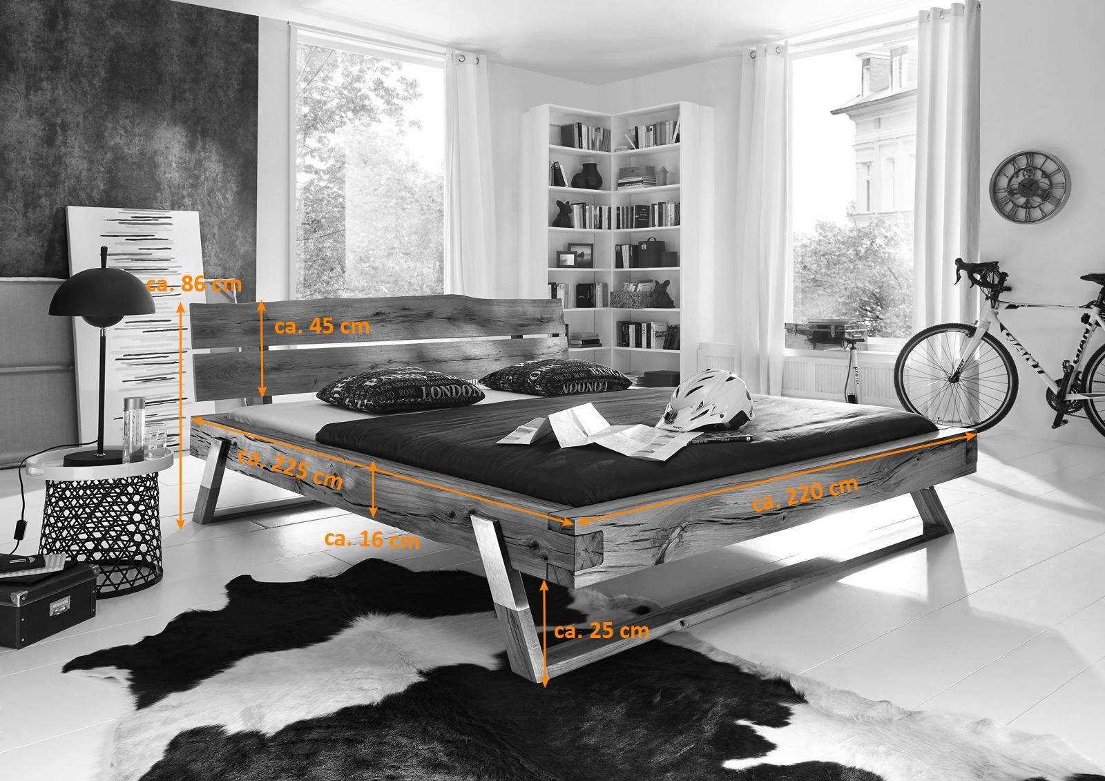 sam balkenbett massiv wildeiche boris holzbett 200 x 200 cm. Black Bedroom Furniture Sets. Home Design Ideas