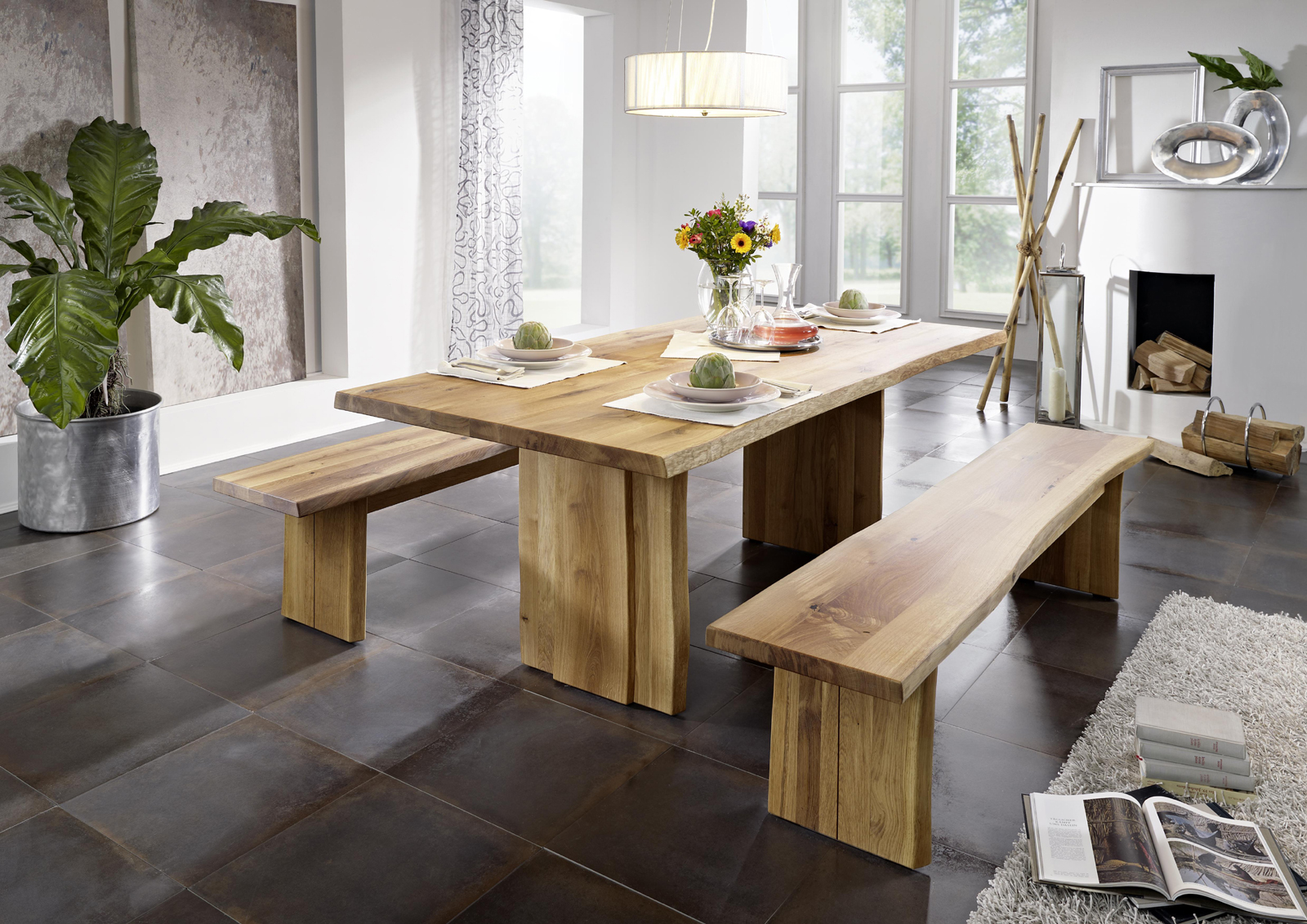 Sam baumtisch aus ge lter wildeiche 180 x 100 cm zinst - Baumtisch esszimmer ...