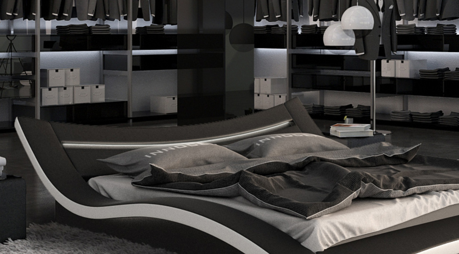 sam bett 140 x 200 cm in schwarz wei seducce led. Black Bedroom Furniture Sets. Home Design Ideas