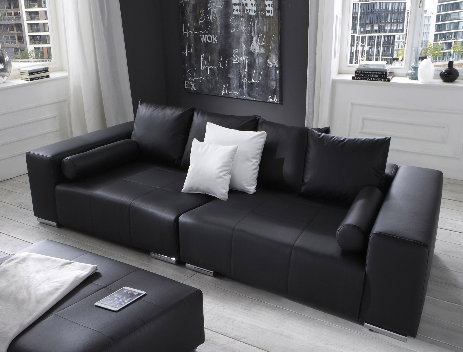 sam big sofa schwarz 290 cm hocker optional jupiter. Black Bedroom Furniture Sets. Home Design Ideas