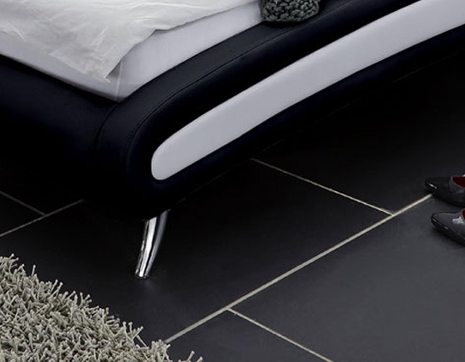 Sam® design bett 160 x 200 cm weiß / schwarz swing