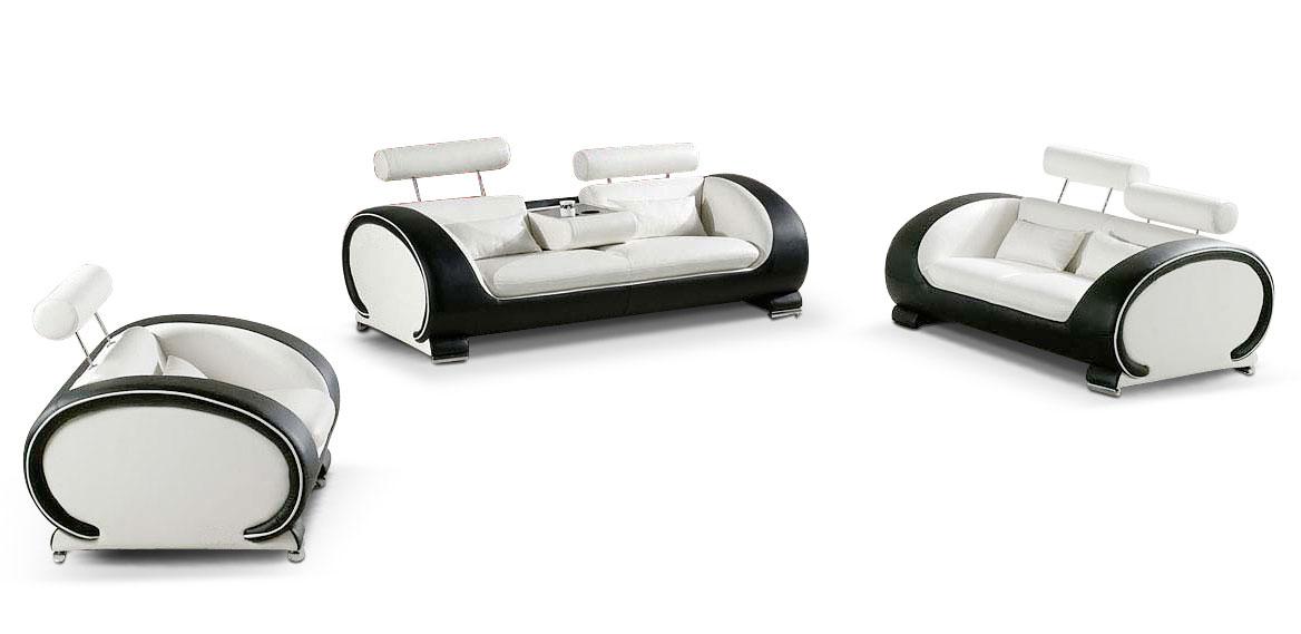 SAM® Design Garnitur Sofa 3tlg. in weiß schwarz Vigo 3-2-1