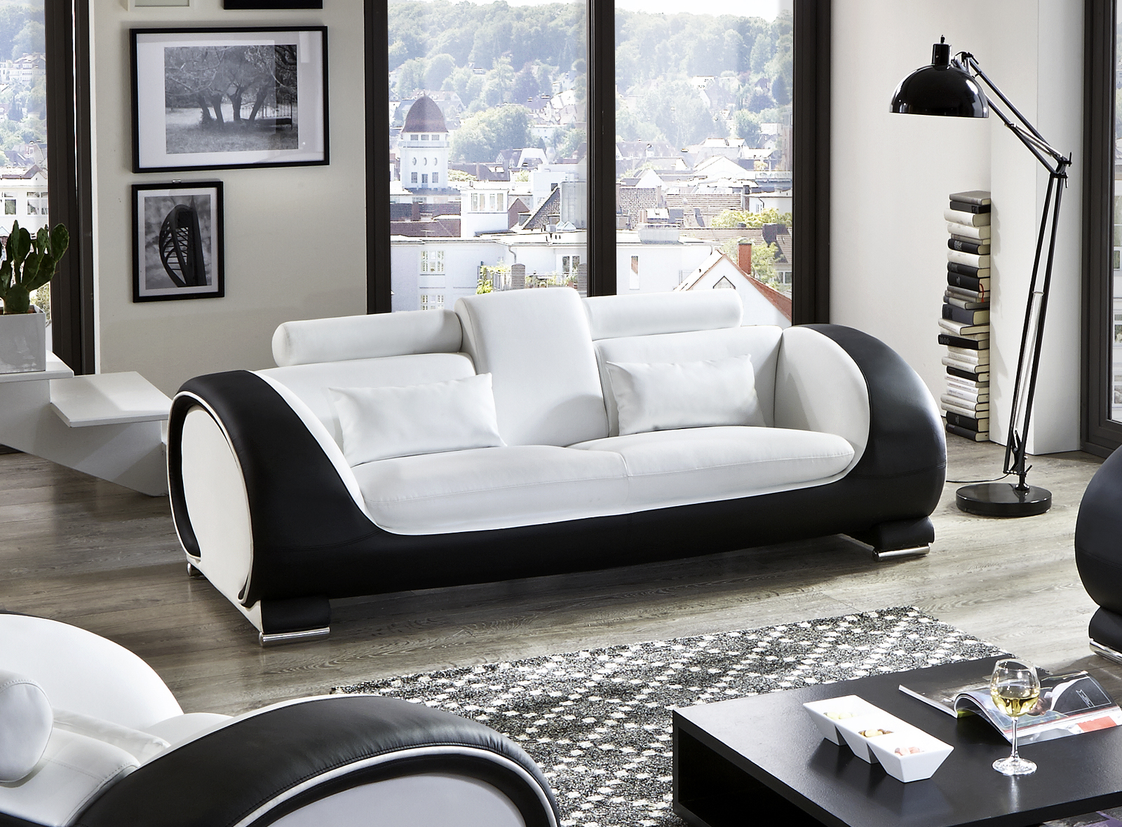 sam design garnitur sofa 3tlg in wei schwarz vigo 3 2 1. Black Bedroom Furniture Sets. Home Design Ideas