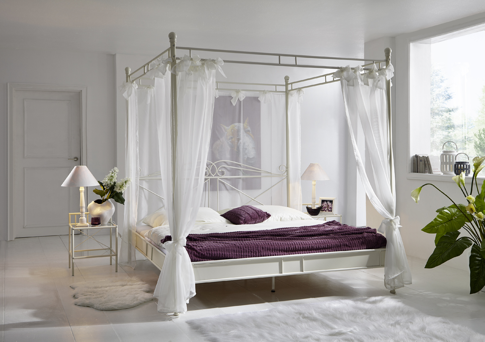 sam design himmelbett 140cm creme wei venezia. Black Bedroom Furniture Sets. Home Design Ideas