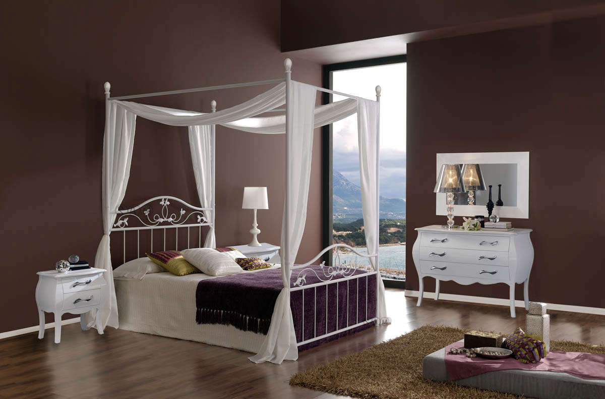sam design metallbett himmelbett 160 cm wei teresa. Black Bedroom Furniture Sets. Home Design Ideas