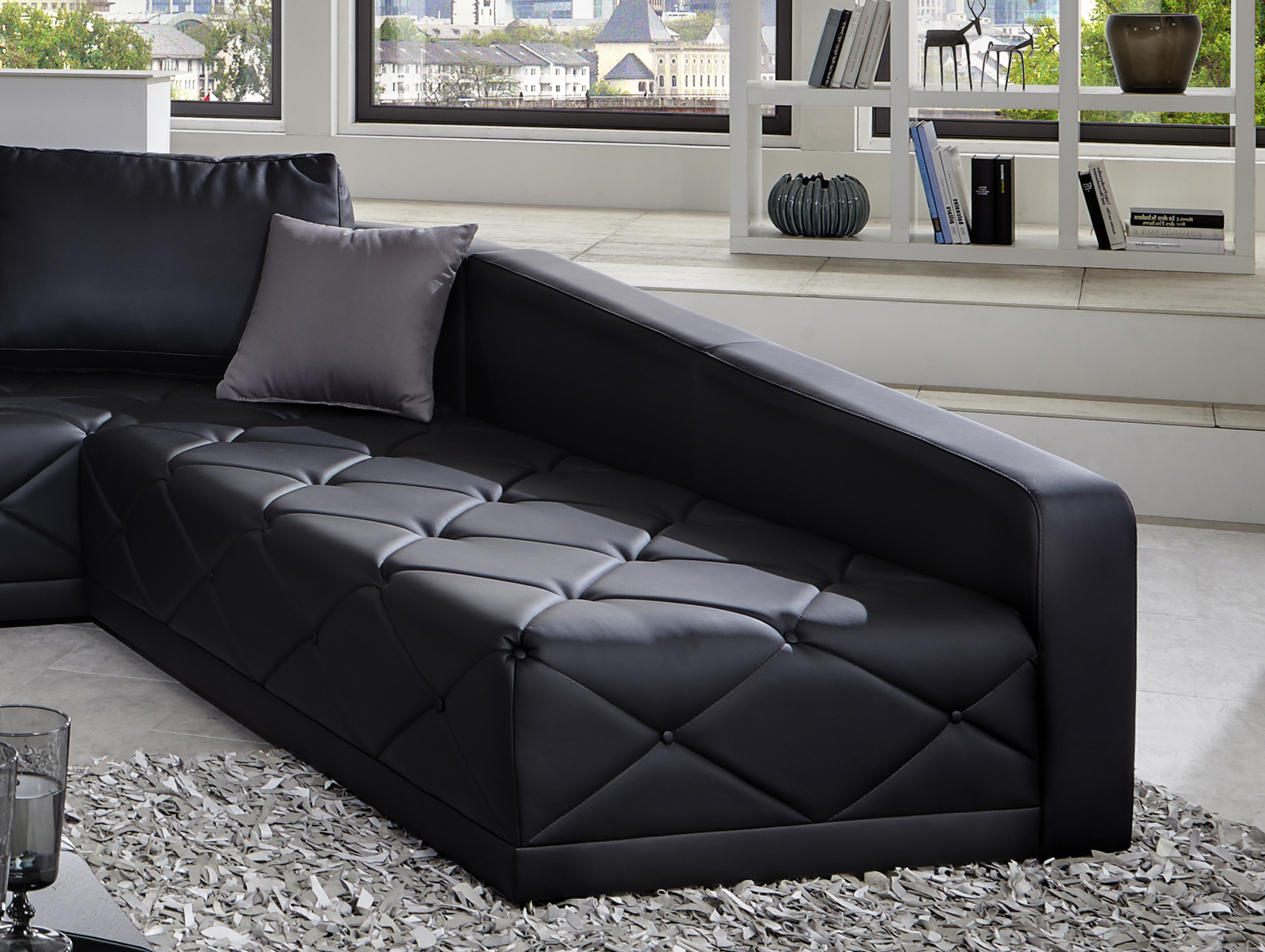sam design sofa schwarz nero wohnlandschaft 380 x 290 cm. Black Bedroom Furniture Sets. Home Design Ideas