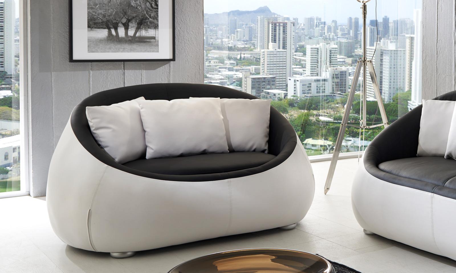 sam design sofa schwarz wei couch 2 sitzer rondo. Black Bedroom Furniture Sets. Home Design Ideas