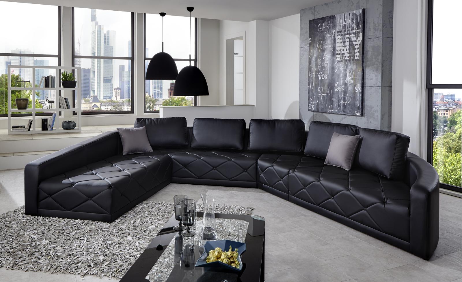 Sam design sofa schwarz wohnlandschaft nero 290 x 380 cm for Wohnlandschaft design