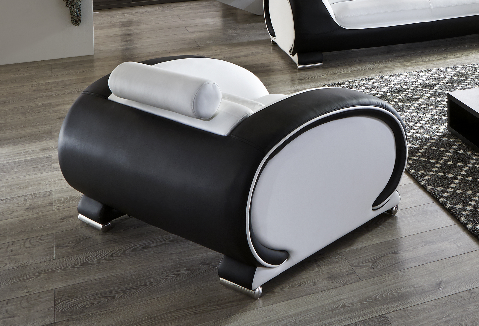 sam design wohnzimmersessel wei schwarz vigo. Black Bedroom Furniture Sets. Home Design Ideas