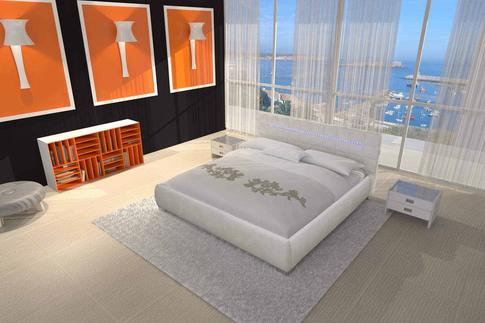 sam designbett wei 120 cm vita led g nstig. Black Bedroom Furniture Sets. Home Design Ideas