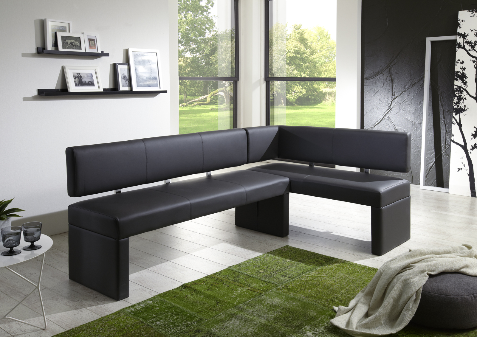 sam eckbank recyceltes leder hellgrau cm x 150 cm lasilas. Black Bedroom Furniture Sets. Home Design Ideas