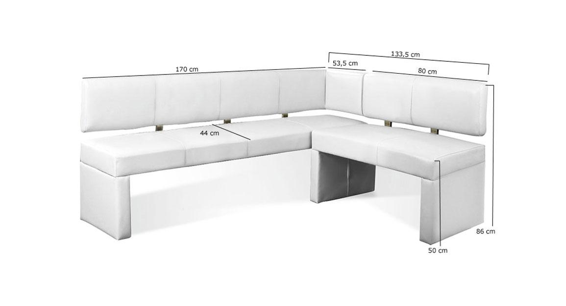 sam eckbank recyceltes leder wei 170 x cm laselena. Black Bedroom Furniture Sets. Home Design Ideas