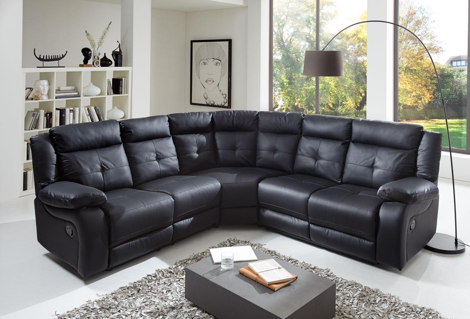 sam ecksofa alessio schwarz g nstig. Black Bedroom Furniture Sets. Home Design Ideas