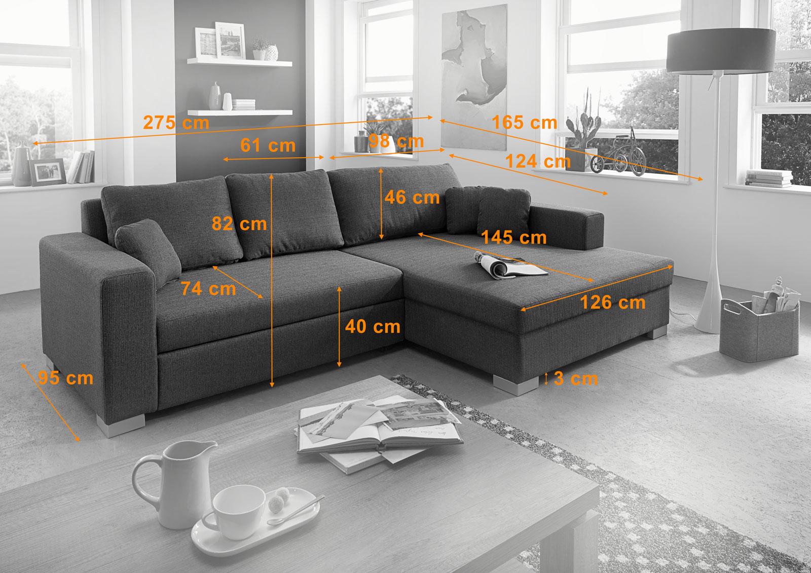 sam ecksofa braun polsterecke jessy 275 x 165 cm. Black Bedroom Furniture Sets. Home Design Ideas