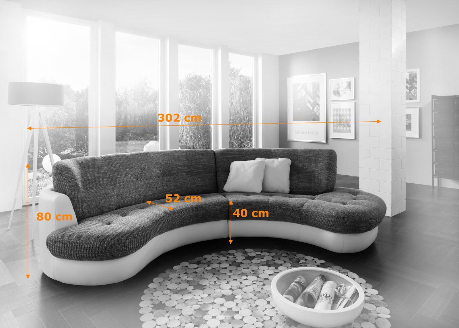 sam ecksofa grau wei 302 cm roma or polsterecke. Black Bedroom Furniture Sets. Home Design Ideas