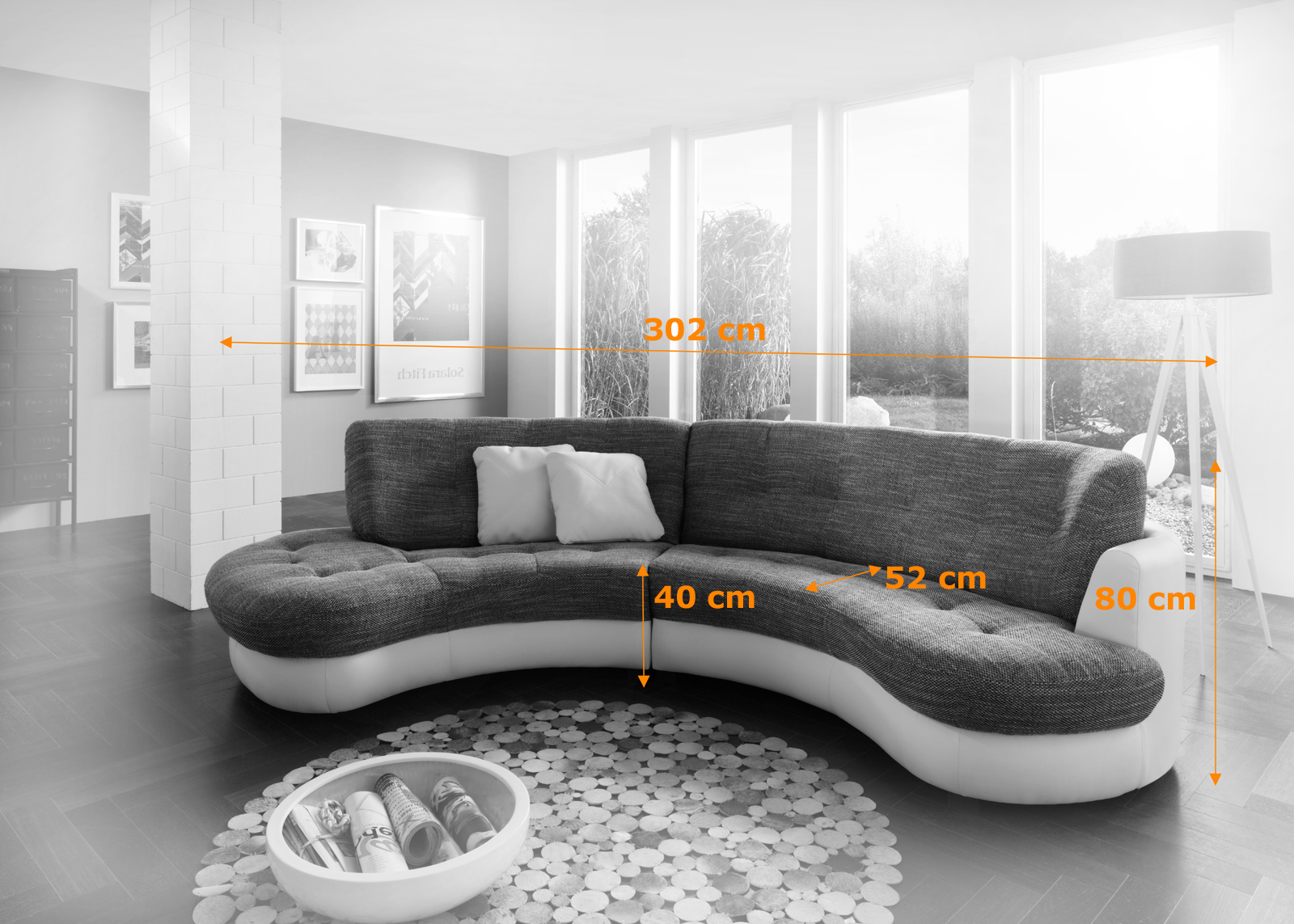 sam ecksofa grau wei roma ol polsterecke 302 x 160 cm. Black Bedroom Furniture Sets. Home Design Ideas