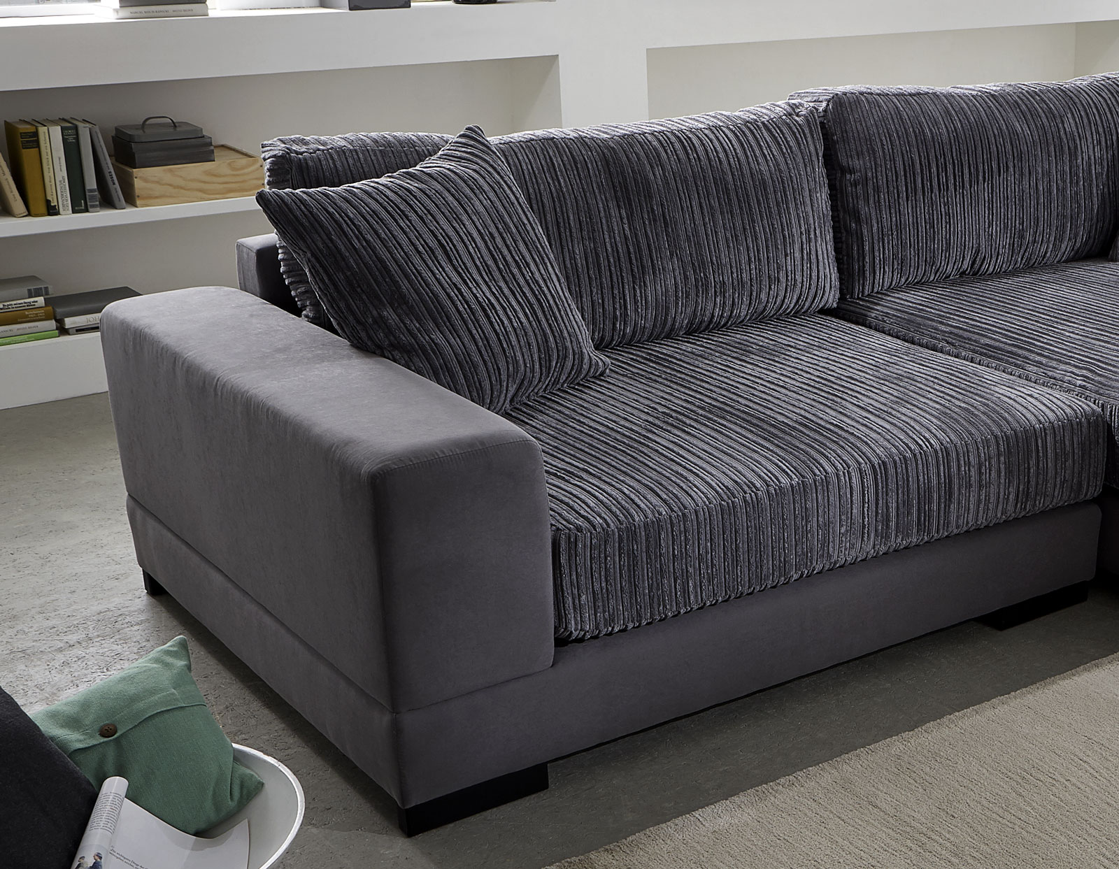 sam ecksofa grau jan polsterecke 275 x 160 cm. Black Bedroom Furniture Sets. Home Design Ideas