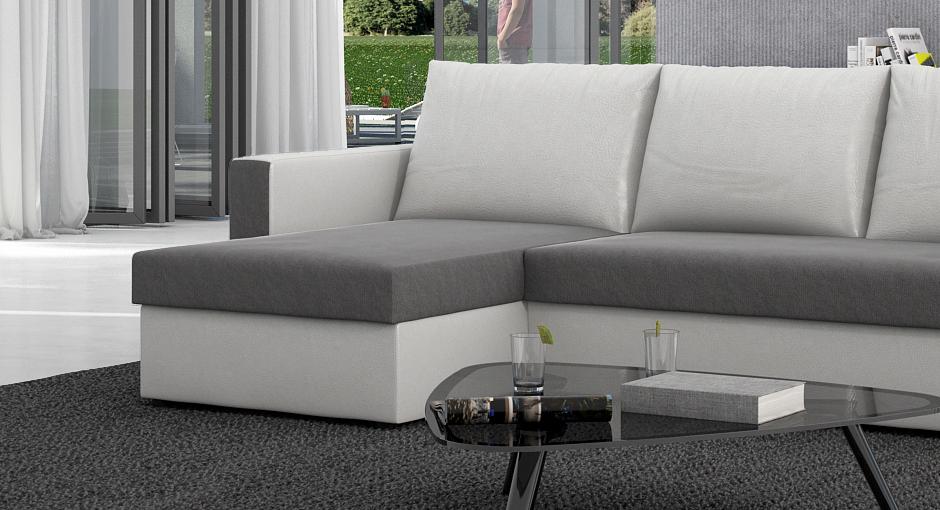 sam ecksofa grau wei schlafsofa besiana 145 x 236 cm. Black Bedroom Furniture Sets. Home Design Ideas