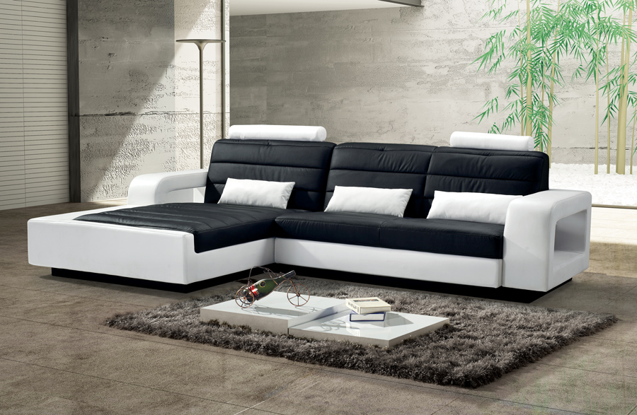 sam ecksofa schwarz wei sofa new york 188 x 310 cm links. Black Bedroom Furniture Sets. Home Design Ideas