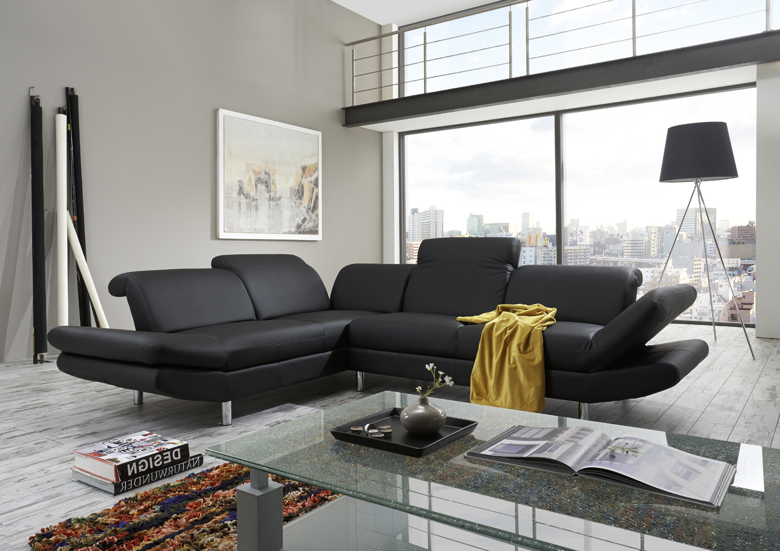 sam ecksofa schwarz polsterecke jazz 230 x 280 cm. Black Bedroom Furniture Sets. Home Design Ideas