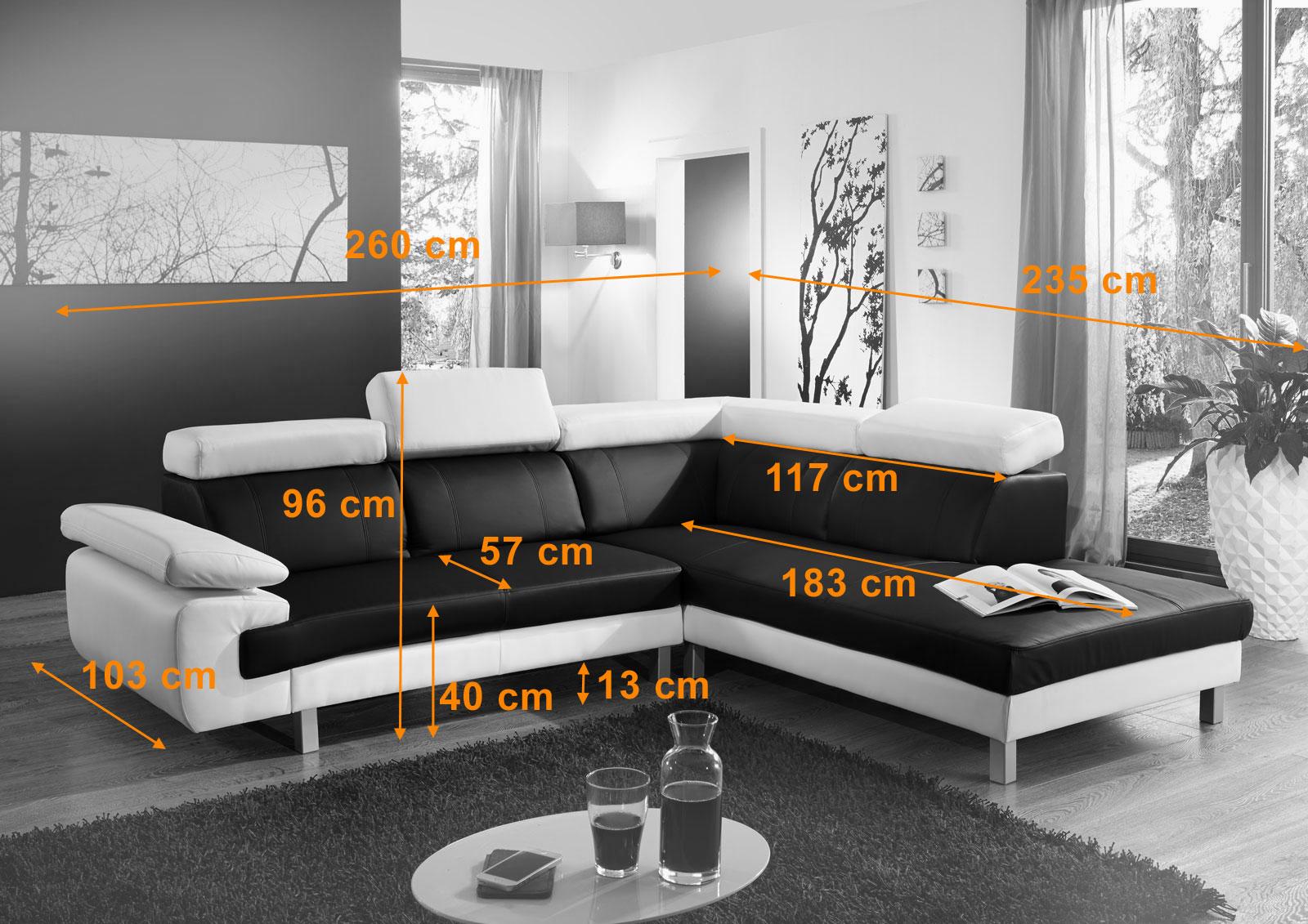 SAM® Ecksofa schwarz weiß Polsterecke Merida 260 x 235 cm -> Ecksofa Trends